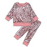Puseky - Tuta composta da felpa a maniche lunghe e pantaloni in velluto per bambine rosa 4-5 Anni