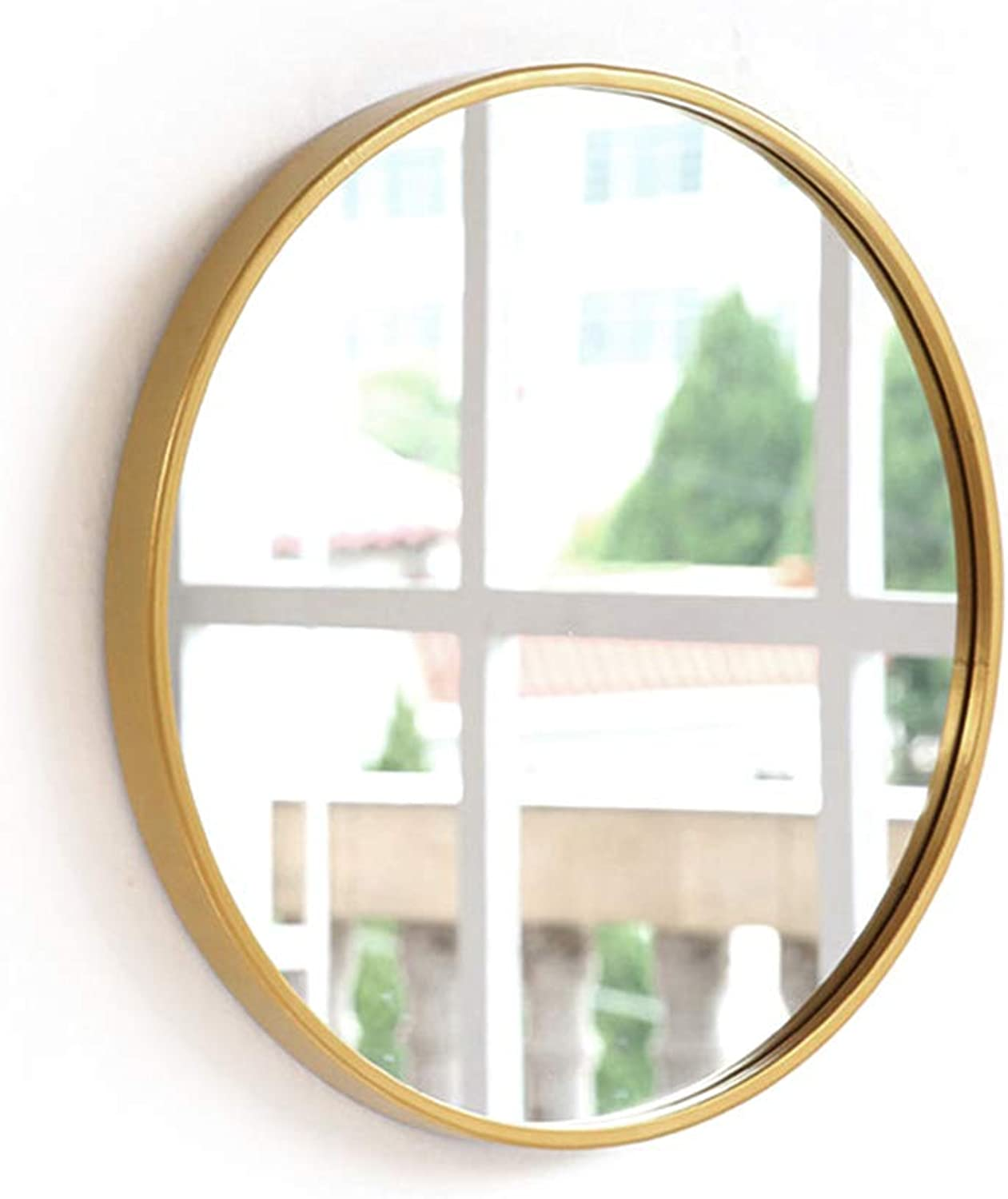 ZYear Round Wall Mirror Decorative gold Metal Large Wall Mirror for Bedroom Bathroom (Size   23.6-inch)