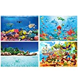 GREAT ART® juego de 4 carteles XXL con motivos infantiles - aventura marina - acuario sirena isla pirata playa mundo submarino decoración interior 140x100cm