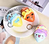 3 Pcs Squeeze Toy Keychain Novelty Squeeze Stress Relief Party Gifts Key Chain Realistic Artificial Cute Bread Stress Reliever for Party Supplies Decorations Souvenirs Gift