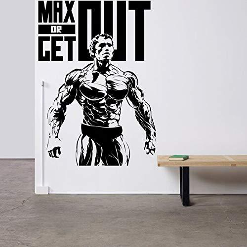 Estrella de cine de Hollywood Arnold Schwarzenegger Crossfit Muscle Fitness Club Gym Sports Vinyl Decal Logo Barbell Max or get out Etiqueta de la pared decoración mural