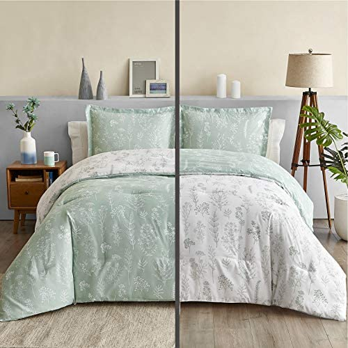 Bedsure Floral Comforter Set Queen Size Bed Sage Green White Flower and Plant Printed Reversible product image