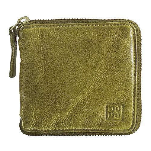 DUDU Portafoglio Uomo con Cerniera in Pelle Vintage Zip Around con Portamonete e Porta Carte Pistachio Green