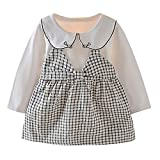 Allence Vestido de princesa para bebé o niña, con mangas largas, para otoño, Negro , XXL
