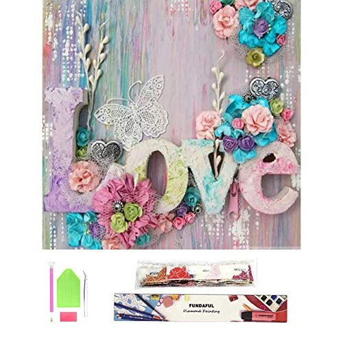 Fundaful Diamond Painting Kits for Adults, DIY 5D Round Full Drill Cross Stitch Crystal Rhinestone Embroidery, Paint by Number The Love, Home Wall Decor 11.8X15.7 (Love)