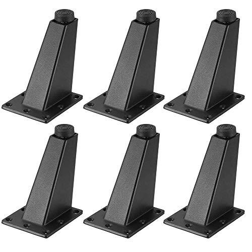 6 Piezas Patas Mueble Negro, Pies de Muebles de Aleación de Aluminio, Supporting Foot Patas Muebles, con Base de Goma, para Cocina Gabinete Gabinete Encimera Barra Mesa Escritorio Sofá