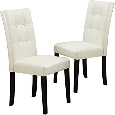 Poundex 1Perfect Choice High Back Dining Side Chairs Stools Cream Faux Leather, Dark Brown Legs