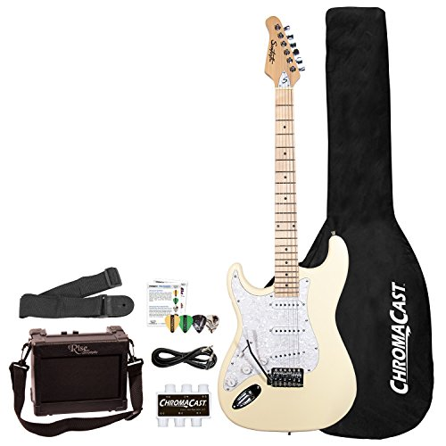 Sawtooth 6 String Solid-Body Electric Guitar, Vanilla Cream with Pearloid White Pickguard, Left-Handed (ST-ES-LH-VCP-BEG-KIT)