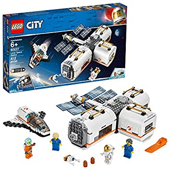 LEGO City Space Lunar Space Station 60227 Space Station Building Set with Toy Shuttle Detachable Satellite and Astronaut Minifigures Popular Space Gift  412 Pieces