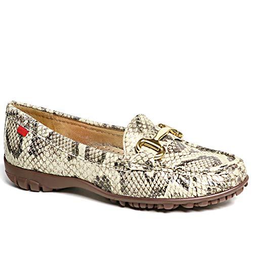 MARC JOSEPH NEW YORK Women s Leather Made in Brazil Grand Street Golf Shoe  Beige Viper/Natural Sole  5 M US