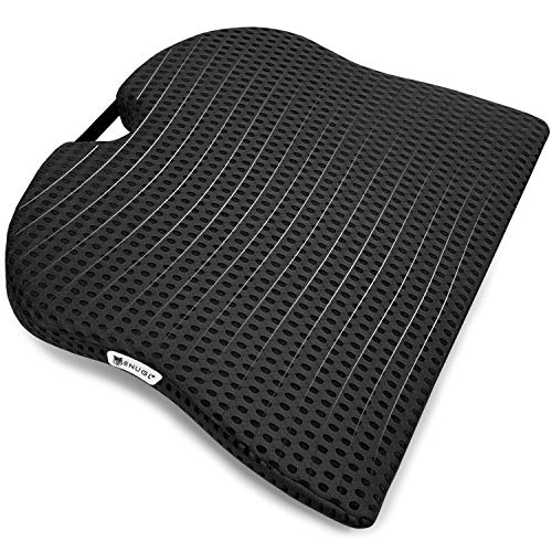 SNUGL Coccyx Wedge Cushion - Seat Pillow for Sciatica, Tailbone and Posture Correction - Blend of Memory Foam and Natural Latex - Ideal for Car Seat, Office Chair, Wheelchair - Black