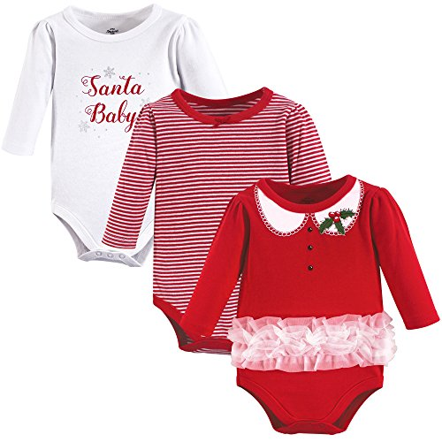 Product Image of the Little Treasure Cotton Bodysuits, 3 Pack, Santa Baby, 0-3 Months