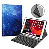 Fintie Keyboard Case for New iPad 7th Generation 10.2 Inch 2019, Soft TPU Back Stand Cover w/Built-in Pencil Holder, Magnetically Detachable Wireless Bluetooth Keyboard for iPad 10.2', Starry Sky
