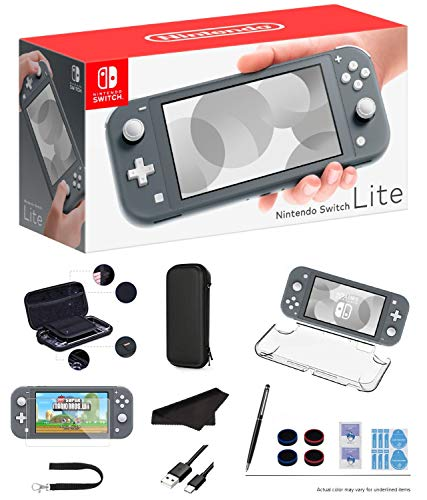 """Newest Nintendo Switch Lite - Gray Game Console, 5.5"""" LCD Touch 1280x720 Screen, Built-in +Control Pad, WiFi, Bluetooth with GalliumPi 10-in-1 Bundle"""