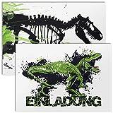 12x Einladungskarten für Kindergeburtstag mit Umschlägen | Dino T-Rex | Dinosaurier Einladungen für Jungen | Einladung Geburtstag Kinder Junge Dinos | Motto Geburtstagseinladungen Jungs | Dinoparty