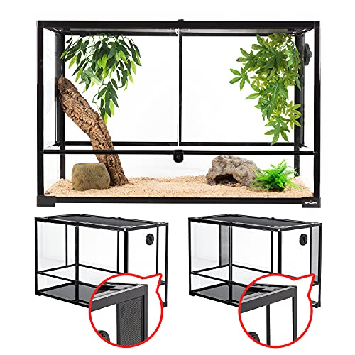 """REPTI ZOO 67 Gallon Reptile Large Glass Terrarium 2 in 1 Side Meshes and Side Glasses Double Hinge Door with Screen Ventilation Reptile Terrarium 36"""" x 18"""" x 24""""(Knock-Down)"""