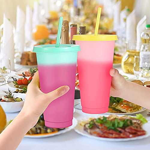 Blingbin 5 copas que cambian de color, ecológicas, de plástico, sensibles a la temperatura, innovadoras y coloridas, para agua fría, para viajes al aire libre y negocios
