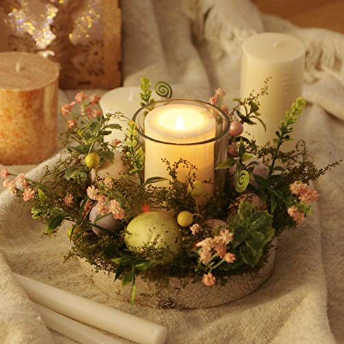 2pcs,Easter Eggs Glass Candle Holder,Creative Glass Tealight Candle Disk,Decorative Candlestick With Easter Egg Wreath,for Home Table Centerpiece Decor