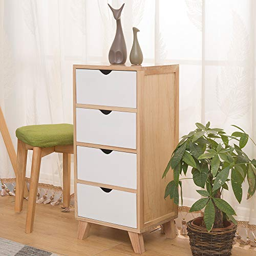 EXQUI Wooden Cabinet of 4 Drawers Chest of Drawers Floor Standing Cabinet Fully Assembled for Hallway and Living Room, 29.5x36x78cm, G998-4