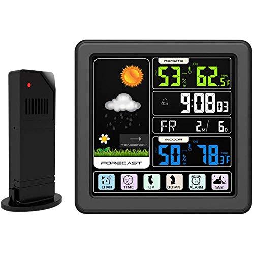 LCY Full-Touchscreen-Wettervorhersage Elektronische Uhr, Wireless-Farbdisplay Wetter Uhr AM/PM Zeitanzeige Innen- Und Außenthermometer Und Hygrometer Uhr,Schwarz