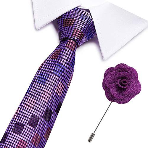 VGYUAS Krawatten Slim Krawatte Herren 7,5 cm Krawatten Set Hochzeit Feste Krawattenbroschen