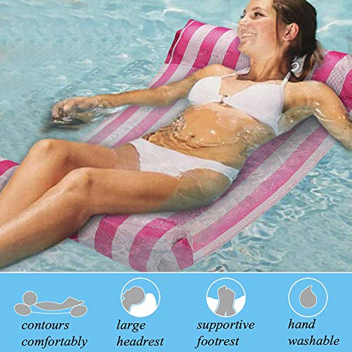 GEYUEYA Home Multi-Purpose Water Hammock Pool Inflatable Rafts Swimming Pool Air Lightweight Floating Chair Compact and Portable Swimming Pool Mat for adults and Kids Bearing 120kg-P