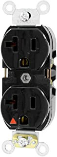 Leviton 5362-IGE Straight Blade, Isolated Ground, 20 Amp, 125 Volt, 2P, 3W, Industrial Series Heavy Duty Grade, Duplex Receptacle, Black
