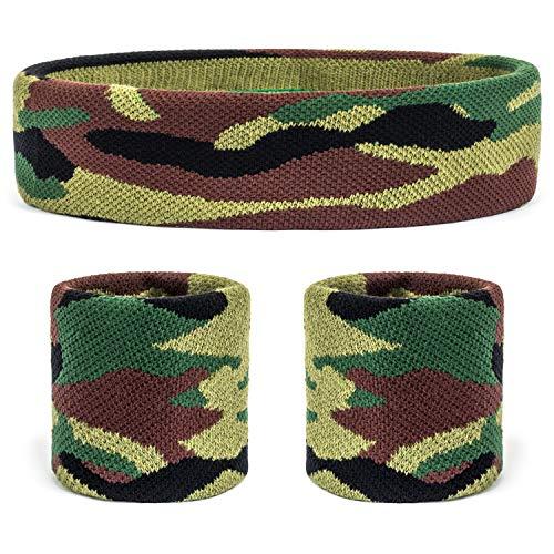 Suddora迷彩头带/腕带套装-用于篮球,网球,健身,健身房的迷彩吸汗带(绿色)