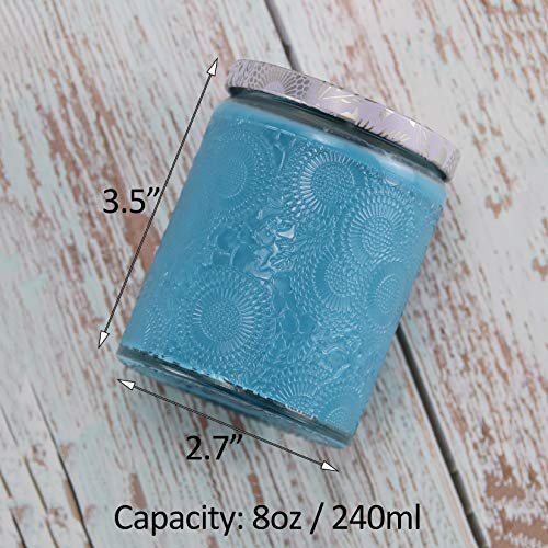 Embossed Glass Candle Container with Tin Lid and Labels, 8 oz - Pack of 9