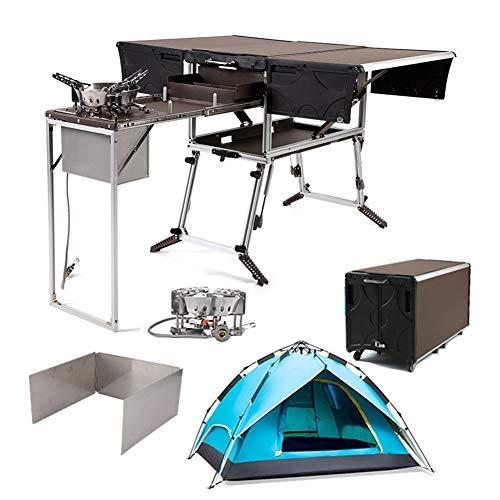 37in*22in Mesa de Camping Plegable al Aire Libre Armario de Cocina multifunción,con Parabrisas&Carpa,for Picnic/Cocina/autoconducción (Size : Package3)