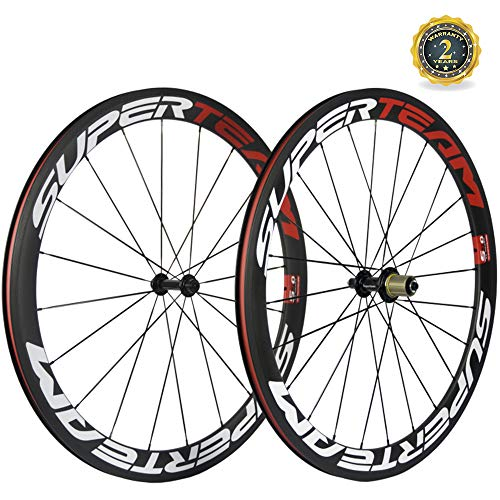 Superteam 50mm/23mm Clincher Wheelset 700c Carbon Wheel with White and Red Decal