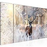 Peinture Hiver Cerf Impression sur Toile intissee Decotacion Murale Salon Chambre 004156a
