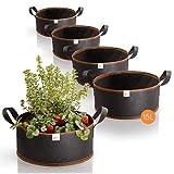 Amazy set de 5 bolsas de plantación – 15L (∅35cm, 15cm de altura) - transpirable & resistente | Para Urban Gardening y cultivar verduras y frutas