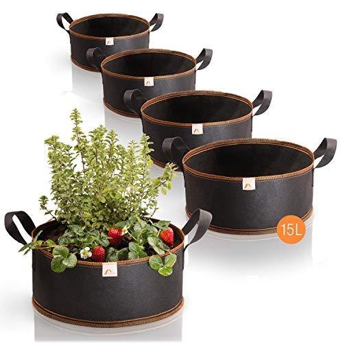 Amazy Sacchi per piante 15L set di 5 (Ø35cm, altezza 15cm) - Vasi in tessuto non tessuto per piantare - traspirante e resistente | sacchetti da coltivazione urbana di verdure e frutta
