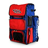 Boombah Superpack Bat Pack -Backpack Version (no Wheels)- Holds up to 4 Bats - Royal Blue/Red - for Baseball or Softball
