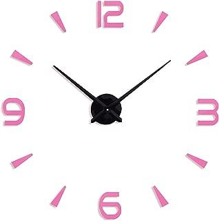Wall Clock Modern Design Acrylic Digital Sticker DIY Big Wall Clock Decoration Living Room,Pink,37Inch