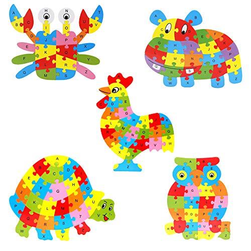 LKJHGFD - Puzzle de madera con letras de abc, 5 piezas, rompecabezas gruesos de animales, educativos para niños y niñas, Material, 249, Size