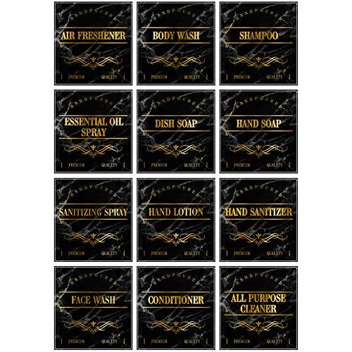 36 Etiquetas Pegatinas Impermeables de Botellas Pegatinas Dispensadores de Jabón Negro y Dorado de Casa de Campo Etiquetas de Organización de Baño de Botellas 16 oz, 3,15 x 2,95 Pulgadas