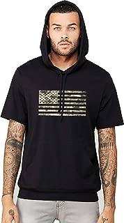 Interstate Apparel Inc Men's Digital Camo Flag Black Short Sleeve Hoodie T-Shirt Black