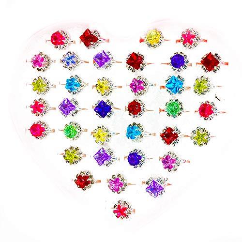 36 Anillos de Joyería para Niños, Anillos de Juguete para Niños Con Cajas En Forma de Corazón, Anillos de Piedras Preciosas de Diamantes de Imitación para Niñas, para Fiestas de Cumpleaños de Niñas
