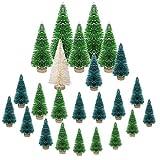 LOVEXIU 24 StüCk Mini Weihnachtsbaum Deko,Miniatur Weihnachtsbaum KüNstlicher,Winter Ornamente Mini Modell Weihnachtsbaum Mini Tannenbaum füR Weihnachtsfeier Tischdeko,DIY,Schaufenster GrüN