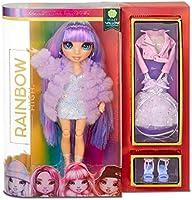 Lalka modowa Rainbow High - Violet Willow - Fioletowa lalka z wyjątkowymi strojami, akcesoriami i stojakiem na lalkę -...