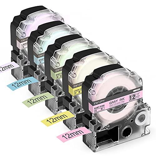 Airmall ガーリー テープ キングジム テプラ テープ 12mm グレー文字 ラベンダー ベビーピンク ミルキーブルー ミントグリーン レモンイエロー てぷらーテープ カートリッジ互換品 5色セット SR-GL1 SR-GL2 SR170 SR-RK