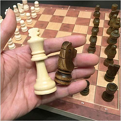 MWKLW Staunton Chess 3 en 1 Ajedrez de Madera Backgammon Damas Juegos de Viaje Juego de ajedrez
