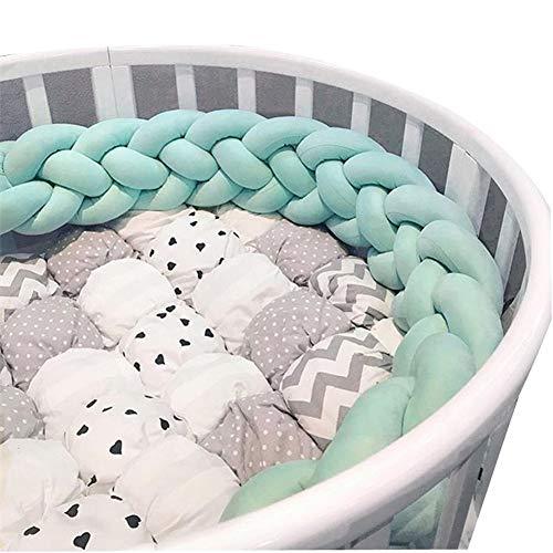 Protections de lit de berceau pour bébé en bas âge noué tressé en peluche pépinière lit garde-corps, protecteur de berceau, oreiller de lit bébé Sleep Bum, boule de noeud, vert, 1 m