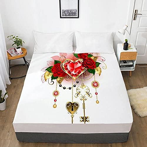3D HD impresión digital personalizada hoja de cama con elástico, sábana bajera ajustable Queen King negro flor dorada funda de colchón de lujo_105-blanco-F_200x220_Deep_30cm
