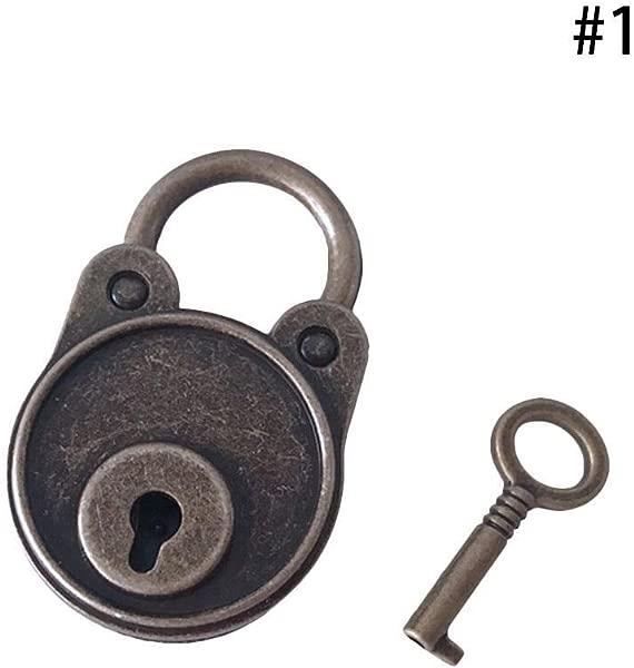 BleuMoo 1Pc Vintage Old Antique Style Mini Archaize Padlocks Key Lock With Key Bronze