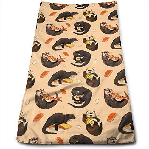 YudoHong Pequeñas nutrias y Sus Toallas de Mano de Fibra de Sushi Toalla de Playa Ultra Suave Toalla de baño para Piscina