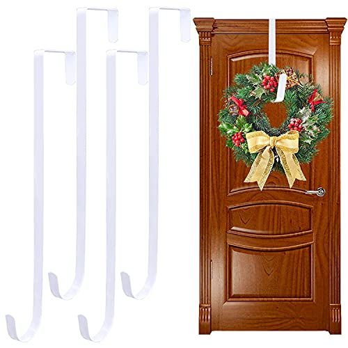 4 Pack White Wreath Hanger,15 Inch Large Wreath Metal Hook for Front Door,Long Christmas Wreaths Holders for Hanging Decoration