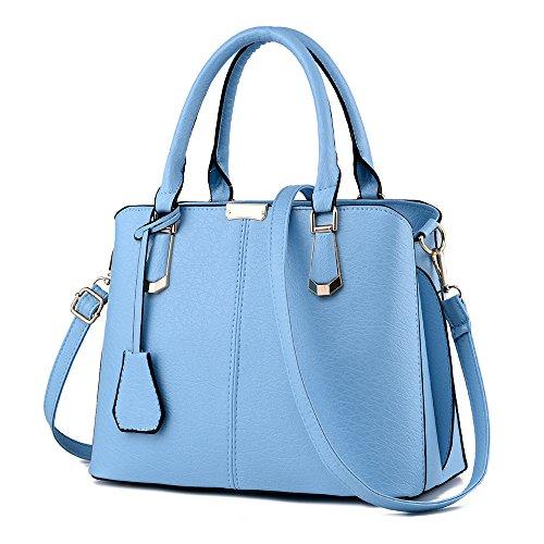 FiveloveTwo Damen Elegant PU Leder Schultertasche Shopper Top-Griff Tragetaschen Umhängetasche Große Handtasche und Geldbörsen Hellblau